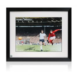 Geoff Hurst Signed England Football Photo: Hat-Trick Goal. Framed