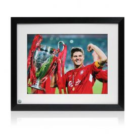 Framed Steven Gerrard Signed Liverpool Photograph: Istanbul 2005