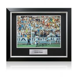 Gordon Banks Signed Photograph: The Pele Save. In Deluxe Black Frame With Silver Inlay