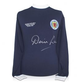 Denis Law Signed Scotland Football Shirt With Wembley 1967 Embroidery