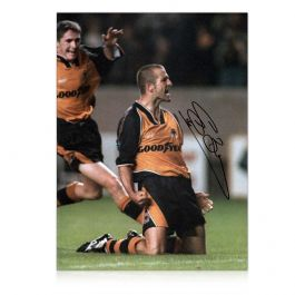 Steve Bull Signed Wolves Photo: Goal Celebration