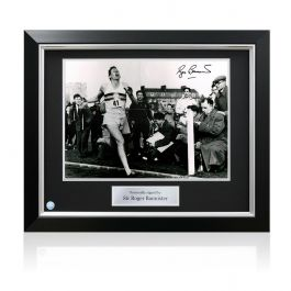 Roger Bannister Signed Photograph: First Under 4 Minute Mile. Deluxe Frame