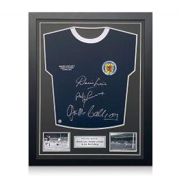 Scotland Football Shirt Signed by Denis Law, Bobby Lennox And Jim McCalliog. Standard Frame