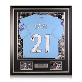 David Silva Signed Manchester City 2019-20 Home Shirt. Luxury Frame