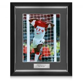 Ian Wright Signed Arsenal Photo: 179 Goals. Deluxe Framed
