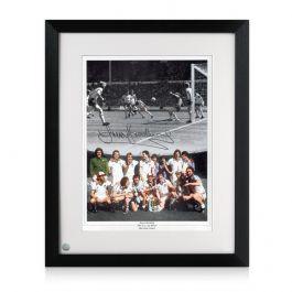 Trevor Brooking Signed West Ham United Football Photo. Framed