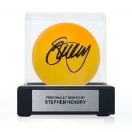 Stephen Hendry Signed Yellow Snooker Ball. In Display Case With Plaque