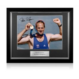 Steve Redgrave Signed Olympics Rowing Photo: Sydney Gold Medal. Deluxe Frame
