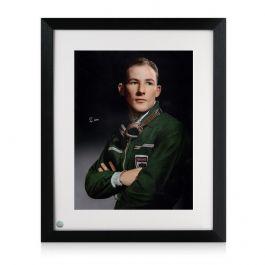 Framed Stirling Moss Signed Portrait Photo