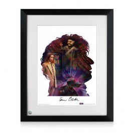 Tom Baker Signed And Framed Dr Who Silhouette Poster