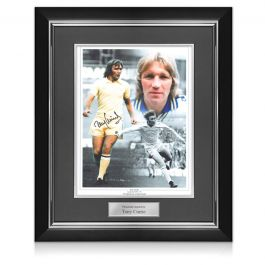 Tony Currie Signed Leeds United Photo. Deluxe Frame