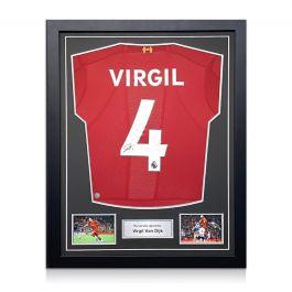 Virgil Van Dijk Signed Liverpool Shirt. Standard Frame