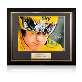 Bradley Wiggins Signed Cycling Photo: Tour de France Icon. Framed