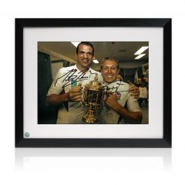 Jonny Wilkinson And Martin Johnson Signed 2003 Rugby World Cup Photo. Framed (Large)