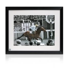 Willie Carson Signed Horse Racing Photo: Troy. Framed