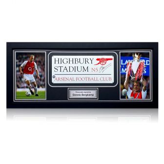 Dennis Bergkamp Signed Highbury Stadium Sign. Framed