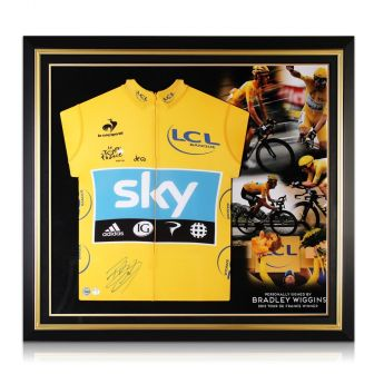 Bradley Wiggins Signed Tour De France 2012 Yellow Jersey Premium Frame