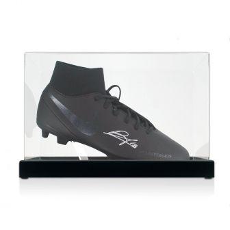 Bruno Fernandes Signed Black Football Boot. In Display Case