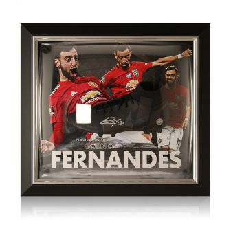 Bruno Fernandes Signed Black Football Boot Manchester United Presentation. Framed