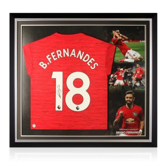Bruno Fernandes Signed Manchester United Shirt. Premium Frame