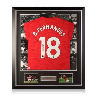 Bruno Fernandes Signed Manchester United Shirt. Luxury Frame