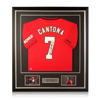 Eric Cantona Signed Manchester United 2019-20 Shirt. Deluxe Frame