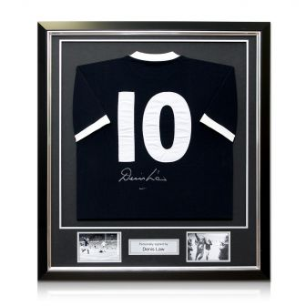 Framed Back Signed Denis Law Scotland Shirt