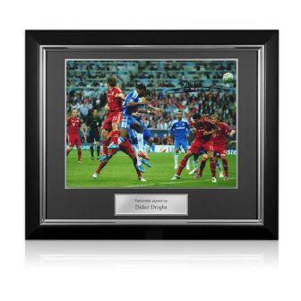 Didier Drogba Signed Chelsea Photo: Champions League Header. Deluxe Frame