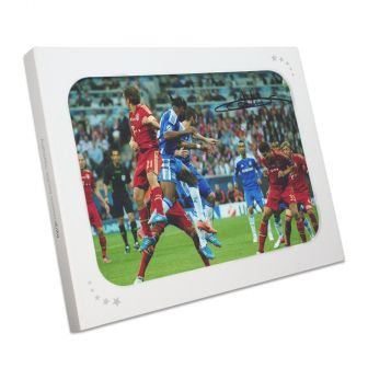 Didier Drogba Signed Chelsea Photo: Champions League Header. In Gift Box