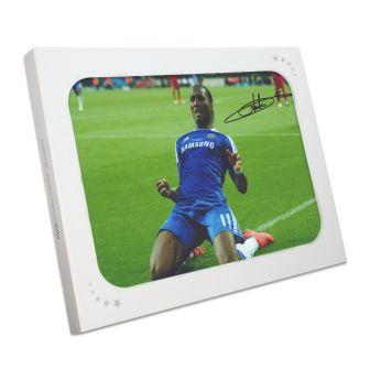 Didier Drogba Signed Chelsea Photo: Champions League Celebration. In Gift Box