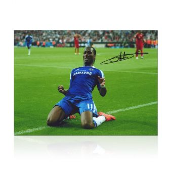 Didier Drogba Signed Chelsea Photo: Champions League Celebration