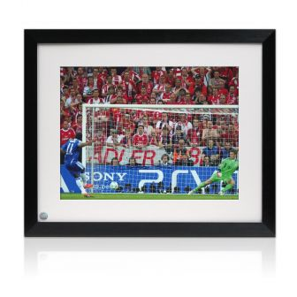 Didier Drogba Signed Chelsea Photo: Champions League Penalty. Framed