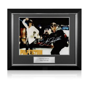 John Travolta Signed Pulp Fiction Poster: The Dance. Deluxe Frame