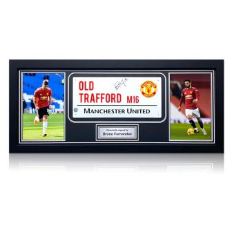Bruno Fernandes Signed Manchester United Street Sign. Framed