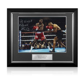 Frank Bruno Signed Boxing Photo: Fighting Iron Mike Tyson. Deluxe Frame
