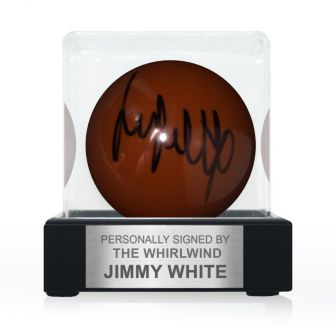 Jimmy White Signed Brown Snooker Ball. In Display Case With Plaque