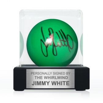Jimmy White Signed Green Snooker Ball. In Display Case With Plaque