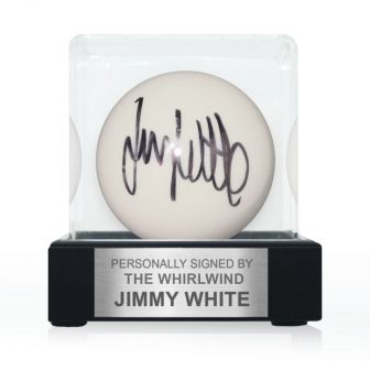 Jimmy White Signed White Snooker Ball. In Display Case With Plaque