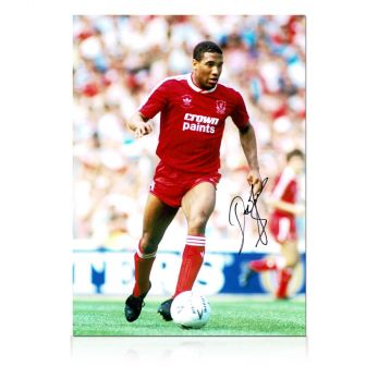 John Barnes Signed Liverpool Photo: On The Wing