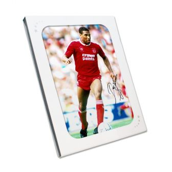 John Barnes Signed Liverpool Photo: On The Wing. In Gift Box