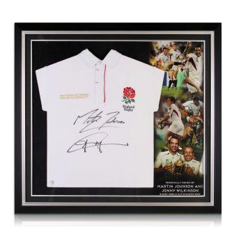 Jonny Wilkinson and Martin Johnson Signed England Shirt