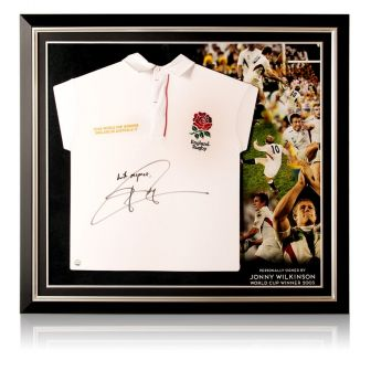 Jonny Wilkinson Signed England Rugby Shirt - With Respect. Premium Frame