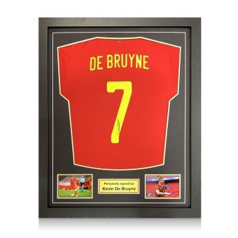 Kevin De Bruyne Signed Belgium Shirt. Framed