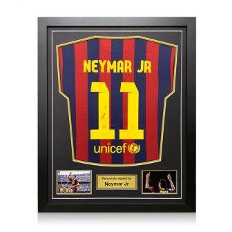 Neymar Jr Signed Barcelona 2013-14 Shirt. Framed