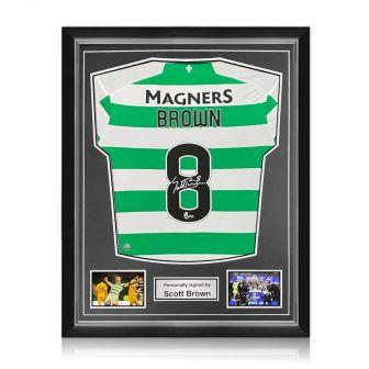 Scott Brown Signed Celtic Shirt. 2019-20. Superior Frame