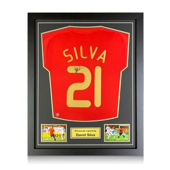 David Silva Signed Spain 2007-09 Home Shirt. Standard Frame