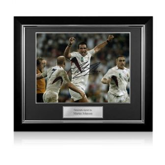 Martin Johnson Signed England 2003 World Cup Rugby Photo: The Final Whistle Deluxe Frame