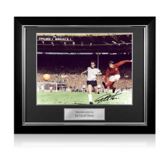 Geoff Hurst Signed England Football Photo: 1966 World Cup Third Goal Deluxe Frame