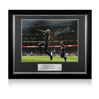Andres Iniesta Signed Barcelona Photo: The Final Goal. Deluxe Framed