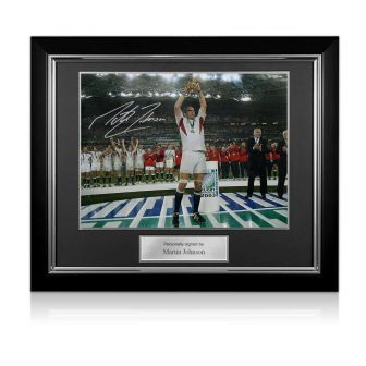 Martin Johnson Signed England Rugby Photo: On The Podium Deluxe Frame